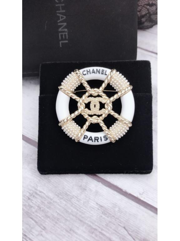 Бело - Золотая Брошка Chanel круг жемчужинки
