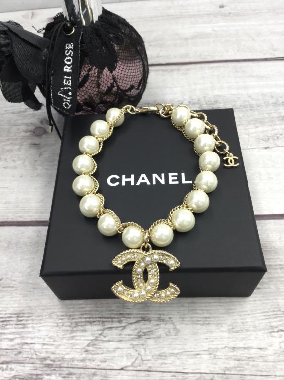 Золотой Браслет Chanel белые жемчужинки золотой значок жемчужинки камни