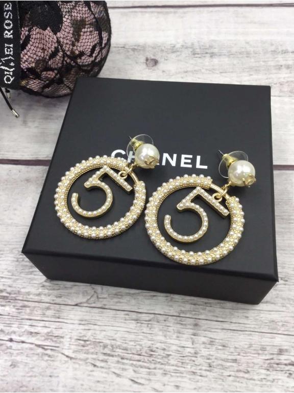 Золотые Серьги Chanel круг жемчужинки 5