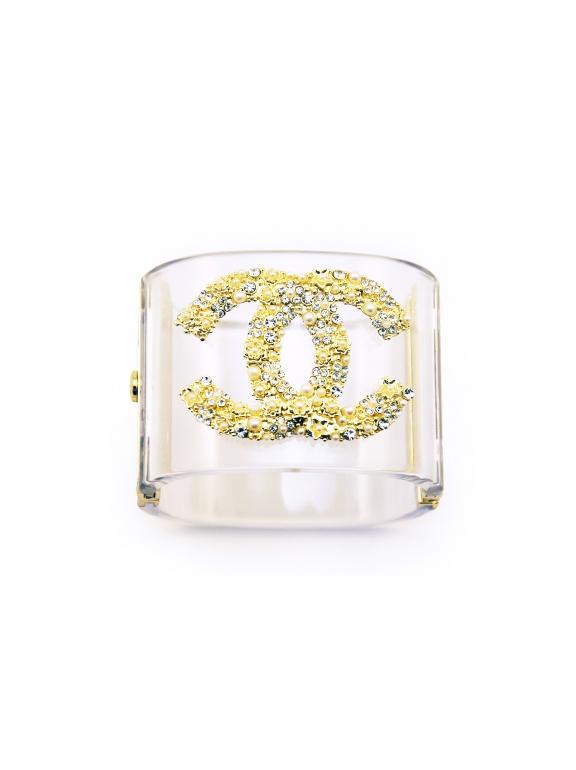 Прозрачный браслет Chanel золотой значок жемчужинки