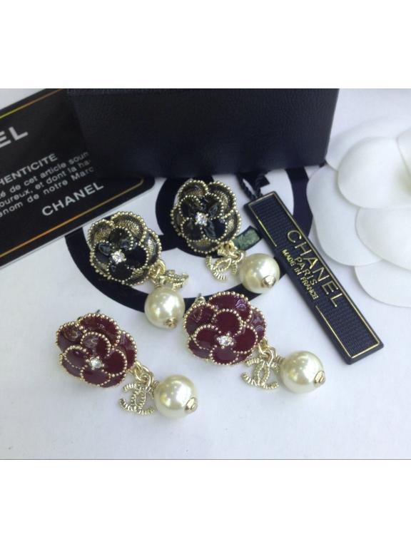Черные серьги Chanel цветок эмаль