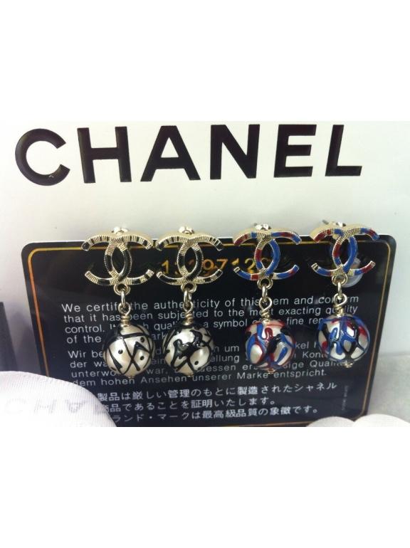 Золотые серьги Chanel сине - красная эмаль