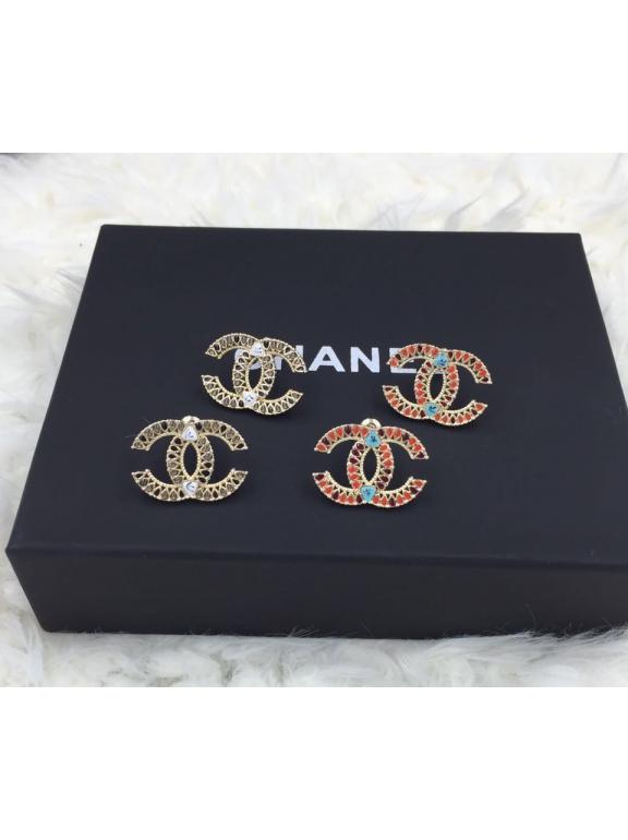Золотые серьги Chanel коричнево - черная эмаль