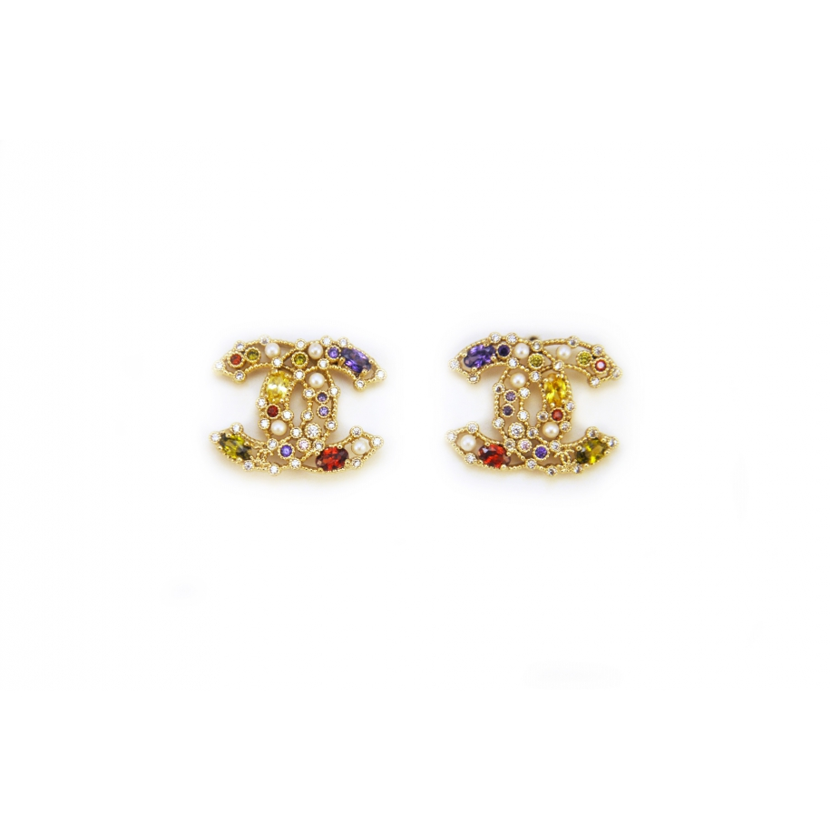 Золотые серьги Chanel разноцветные камни