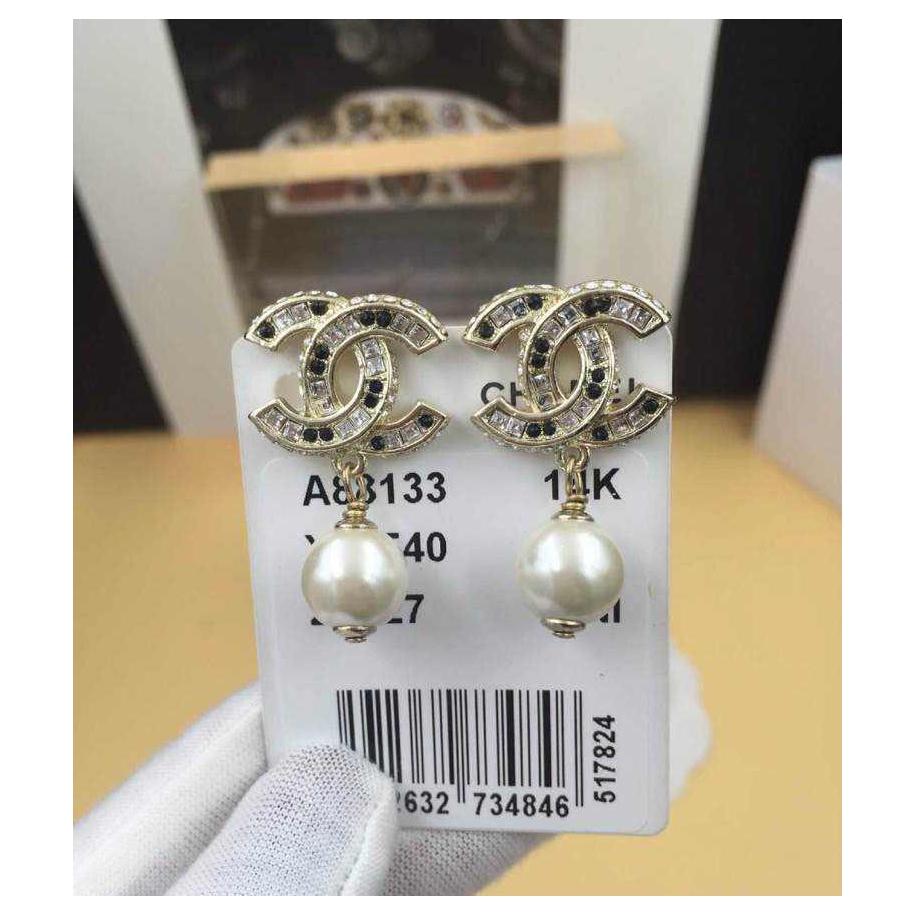Золотые серьги Chanel жемчужинки - камни