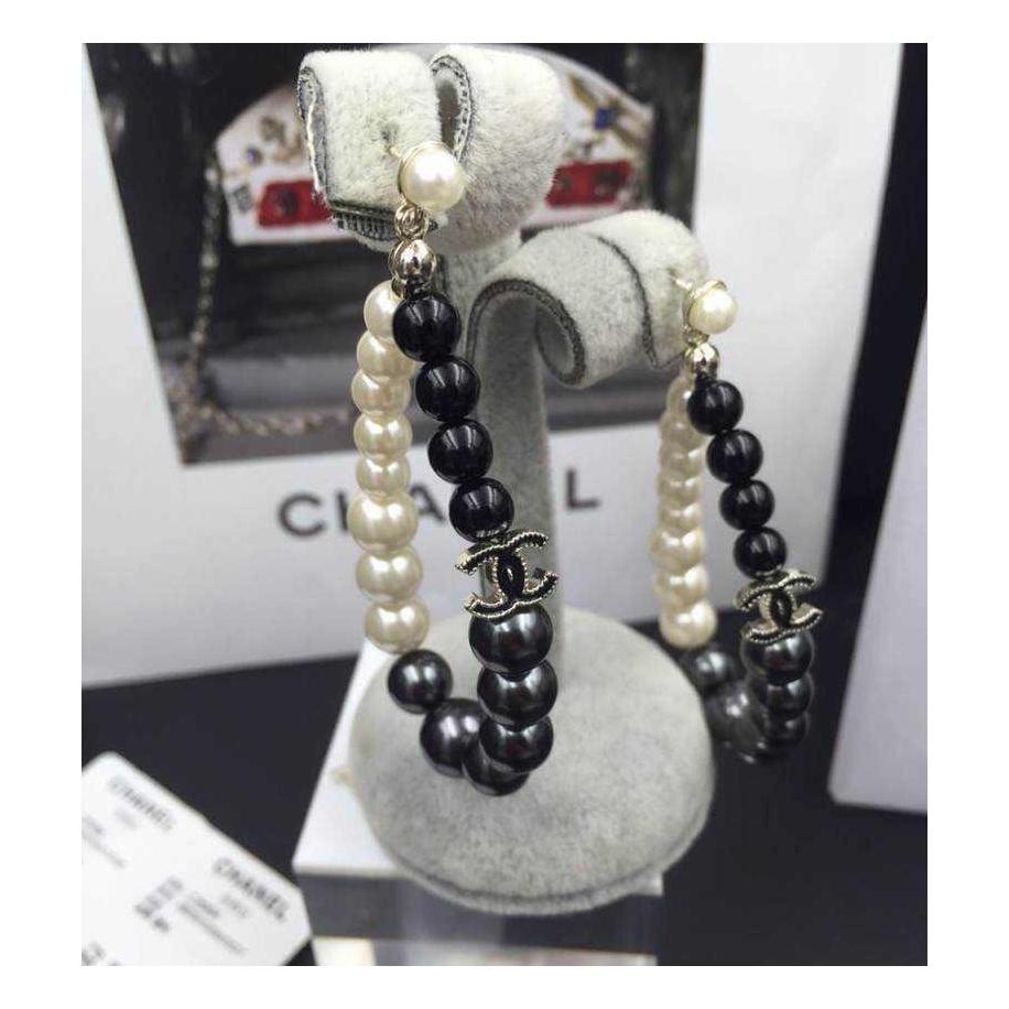 Черно - Серо - Белые серьги Chanel жемчужинки