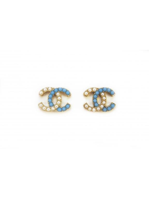 Золотые серьги Chanel бело - голубые жемчужинки