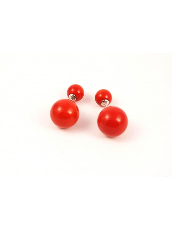 Красные серьги - пусеты Christian Dior в серебре