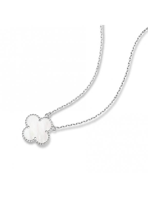 Белая Подвеска Van Cleef & Arpels один цветочек в белом