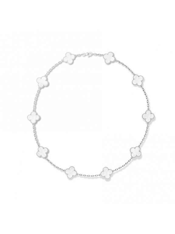 Белое Колье Van Cleef & Arpels 10 цветочков в белом