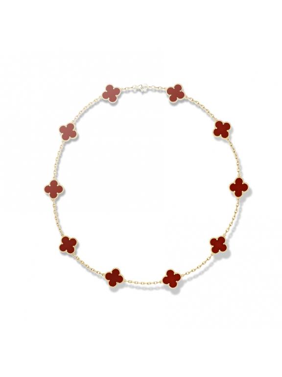 Красное Колье Van Cleef & Arpels 10 цветочков в золоте