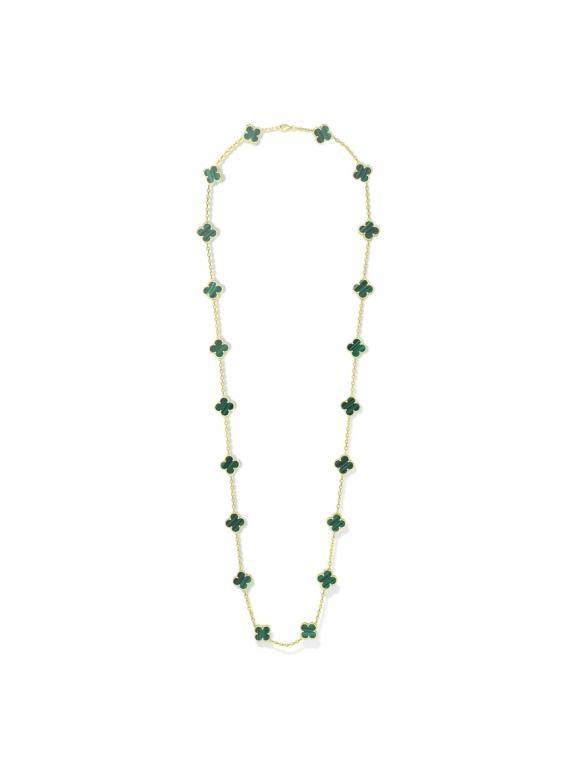 Зеленое Колье Van Cleef & Arpels 20 цветочков в золоте